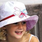 UVカット 帽子(子供用) - キッズ KIDS ハット - ワイド ブリム アップリケ ハット つば広 帽子 子供 子ども kidsバタフライ ※紫外線カット(UVカット)最高値UPF50+ 52cm / 55cm