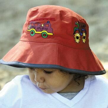 帽子 キッズ UVカット (子供用) - KIDS ハット - ボーイズ バケット ハット 子供 子ども kids  カラー:消防車/オレンジ※紫外線カット(UVカット)最高値UPF50+ 52cm / 55cm 帽子 キッズ