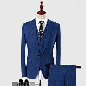 【期間限定!マスクプレゼント中】縦ストライプメンズ スーツ スリム 肩パッドあり 1ツボタン ビジネス suit セットアップ ビジネス 紳士 メンズ フォーマル 大きいサイズ 結婚式 成人式 ブルースーツ ネイビースーツ【S/M/L/XL/2XL/3XL/4XL】dg667f0f0f0/代引き不可