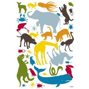 ウォールステッカー*キッズルーム(KidsLAB)「カラフルアニマルタワー」■シールはがせるアニマル動物アルファベット旗フラッグフェミニンルームメイツ