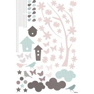 ウォールステッカー*キッズルーム(KidsLAB)「ロマンティックブランチ&バード」■シールはがせるアニマル動物アルファベット旗フラッグフェミニンルームメイツ