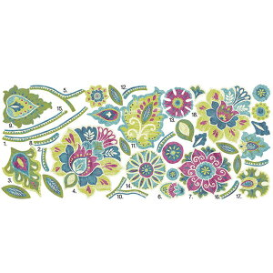 ウォールステッカー*フラワー&リーフ「ボーホーフローラルジャイアント」■シールはがせる花葉フローラルエレガントルームメイツ