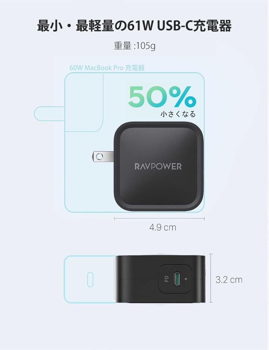 【世界最小最軽量クラス】61W約105g急速充電器RAVPowerUSBC【GaN(窒化ガリウム)採用/折畳式/PD対応】iPhone11/11Pro/XR/8、GalaxyS10、MacBookPro、iPadProその他USB-C機器対応急速充電器タイプc急速充電器typec