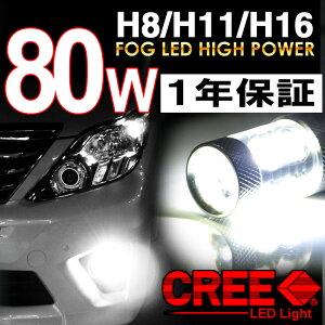 今月限定LEDバルブ80W【CREE製】無極性H8H11H16ホンダヴィッツステップワゴンスパーダストリームフィットシャトルハイブリッドオデッセィNボックスカスタムフィットLEDフォグデイライト2個1セット