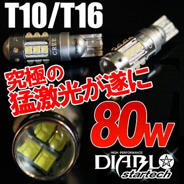【送料無料】1年保証 LEDバルブ 80W T10/T16 ウェッジ球 ポジション バックランプ オデッセイ ステップワゴン フィット ヴェゼル N-BOX N-ONE ヘッドライト ランプ テール