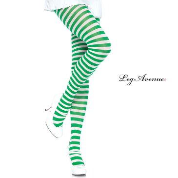 タイツ コスプレ 衣裳 LEG AVENUE レッグアベニュー LA 7100 ホワイト / グリーン SP 正規品 コスプレ衣装 レディース カラータイツ ボーダー しましま 透けにくい ファッション おしゃれ ヘビロテ かわいい セクシー クリスマス サンタ ストッキング パンスト TDL USJ