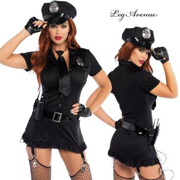 コスプレ 衣装 Leg Avenue レッグアベニュー LA 83344 ポリス 6点セット 正規品 コスプレ衣装 かっこいい ポリス ミニスカポリス 警官 婦警 婦人警官 警察官 制服 セクシー コスチューム ハロウィン ハロウィーン 仮装 POLICE 黒 halloween cosplay costume 海外 インポート