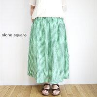 slone・square・8355・スロンスクエア・リネンギンガム・タック・ギャザー・スカート・送料無料