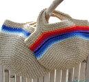 【麻(HEMP)バッグ】手編みの麻バッグ!職人が1つ1つ丁寧に編んでいます!ミニサイズでちょっとしたお買い物に便利!blue・rainbow