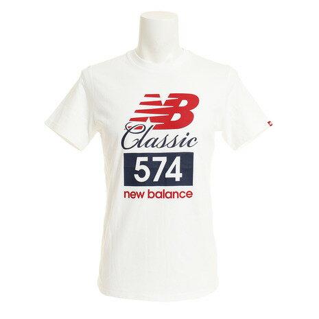 ニューバランス(newbalance) 多少の傷汚れありの為大奉仕 クラシック574TシャツAMT81543WTオンライン価格(