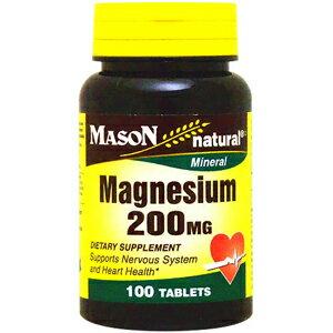 マグネシウム 200mg 100粒[サプリメント/健康サプリ/サプリ/ミネラル/マグネシウム/栄養補助/栄養補助食品/アメリカ/タブレット]