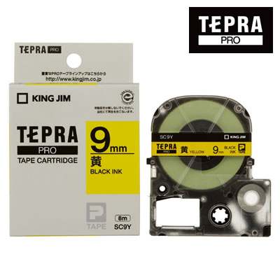 キングジム テプラPRO用 テープカートリッジ カラーラベル(パステル)<ラベル黄/黒文字/幅9mm/長さ8m> SC9Y