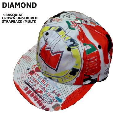 値下げしました!DIAMOND/ダイヤモンド BASQUIATコラボ CROWN UNSTRUCTURED STRAPBACK MULTI CAP/キャップ HAT/ハット 帽子