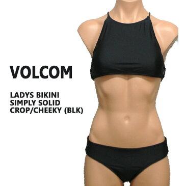 値下げしました!VOLCOM/ボルコム 新作レディース BIKINI SIMPLY SOLID CROP/CHEEKY BLACK 女性用 水着 ビキニ