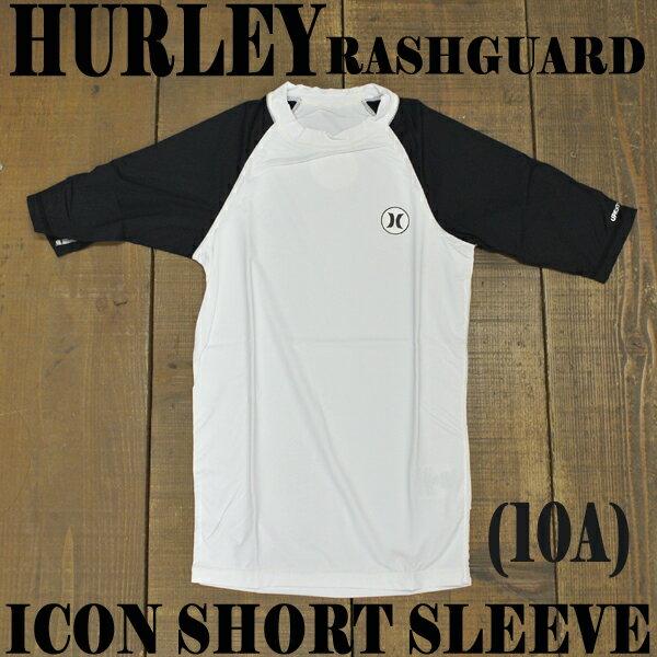 HURLEY/ハーレーメンズ半袖ラッシュガードICONS/SRASHGUARD00AWHITE/BLACK定番モデルサーフィン用男性用水着UVカット