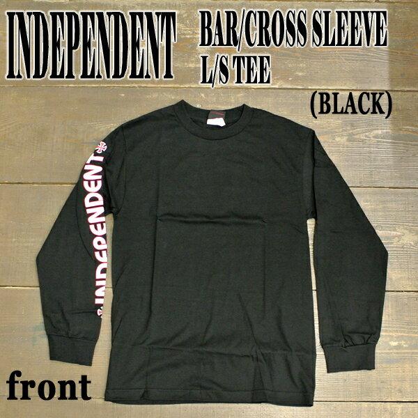 トップス, Tシャツ・カットソー INDEPENDENT BARCROSS SLEEVE LS TEE BLACK T