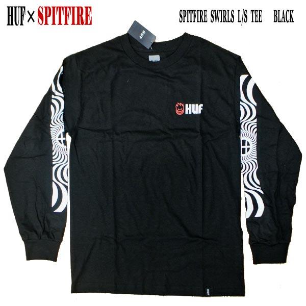 トップス, Tシャツ・カットソー HUF SPITFIRE SPITFIRE SWIRLS LS TEE BLACK T T-shirts MENS BIGHEAD