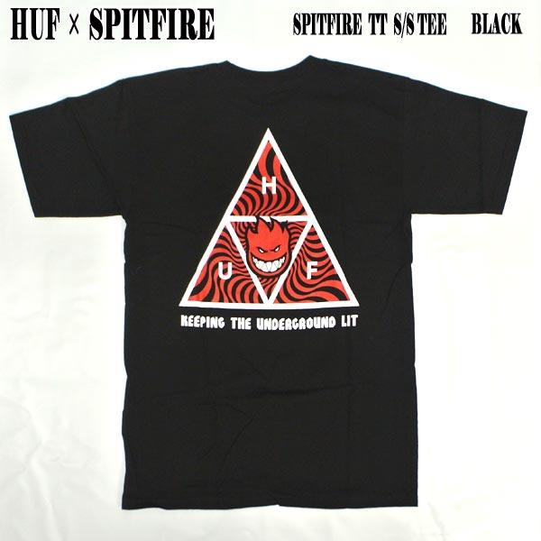 トップス, Tシャツ・カットソー HUF SPITFIRE SPITFIRE TT SS TEE BLACK T T-shirts MENS BIGHEAD