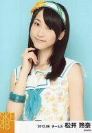 【中古】生写真(AKB48・SKE48)/アイドル/SKE48 松井玲奈/上半身・衣装花柄白・カチューシャ・背景水色/「2012.08」公式生写真
