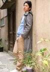【中古】生写真(男性)/俳優 小笠原健/全身・衣装青.グレー.ベージュ・左向き・左手ポケット/生写真
