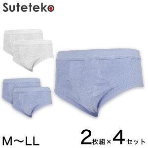 抗菌防臭加工 パイル天スパンブリーフ 2枚組×4セット M〜LL (綿100% メンズ 男性 紳士 下着 肌着 インナー オールシーズン ベーシック)