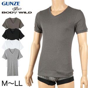 グンゼ BODY WILD Vネック リブ Tシャツ bodywild 綿100% M〜LL (GUNZE ボディーワイルド メンズ 男性 下着 肌着 ドライ tシャツ インナー 半袖 吸収速乾 M L LL)