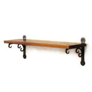 クラシックなテイストのハンドメイドの鉄の棚受けとウッドボードを組み合わせたアイアンウォー...