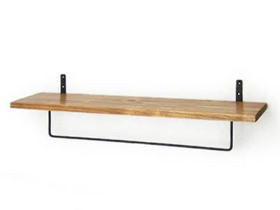 タオル掛け 棚付き ウォールシェルフ 木製 壁掛け棚 アイアン タオルハンガー付シェルフ