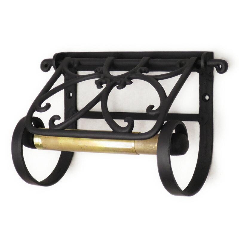 トイレットペーパーホルダー 真鍮 黒 アイアン トイレ 紙巻器 オープンワークペーパーホルダー