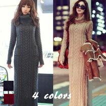 タートルネックニットロングワンピース ケープル編み レディース 韓国 ファッション セレブ 上品
