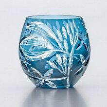 ギフト切子グラスフリーグラス手づくりサキシマボタンヅル350ml1個入り東洋佐々木ガラス