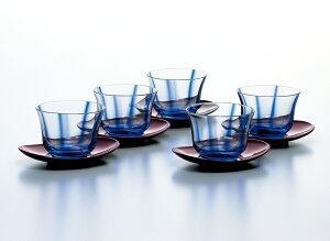 送料無料 ガラス 湯呑み コップ 冷茶グラス 冷茶セット茶托付き5客 グラス 冷茶揃 水の舞 180ml 東洋佐々木ガラス