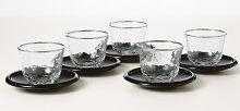 送料無料湯呑みガラスコップ冷茶グラス170ml冷茶セット5客茶托付き銀の月コップグラス東洋佐々木ガラス