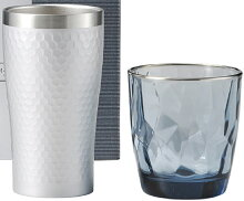 ギフトサーモタンブラー・グラスのセットガラスコップタンブラーシルバー370mlダイアナリラックスセット
