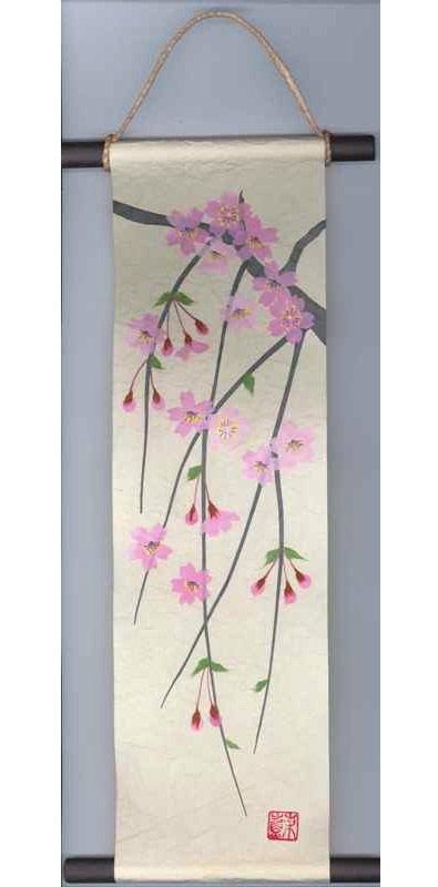 【楽天市場】床の間にどうぞ! 和紙製品 日本製 和風ちぎり絵・貼り絵タペストリー 掛軸・掛け軸 春 桜・さくら