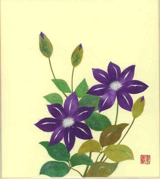 色紙 日本画 季節のちぎり絵シリーズ 春〜夏 5月の誕生花 貼り絵てっせん ちぎり紙鉄線