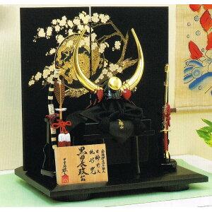 Livraison gratuite produit Oyama de 4ème génération May poupée faite par Toyohisa Heian Gilt estampillé grande béquille latérale buffle d'eau, support de tournesol, casque Momogata décoration de support plat en bois d'un tiers de casque [Kuroda Nagamasa]