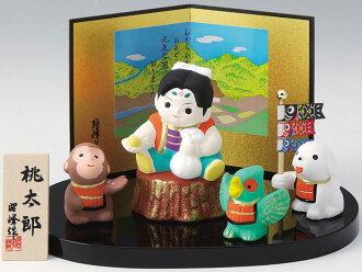 陶瓷的勇士娃娃、 振興桃男孩日本水餃、 狗、 猴子和野雞 ☆ 桃太郎和狗,猴子和野雞 !