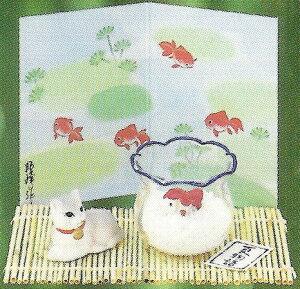 夏ものがたり 涼風金魚鉢 猫と金魚 にらめっこ 〈ねこときんぎょ ネコとキンギョ 陶器の...