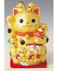 開運招福の縁起物! 陶器製 金運招き猫・招福づくし 高さ18.0cm Beckoning Cat Welcoming Cat Lucky Cat Fortune Cat