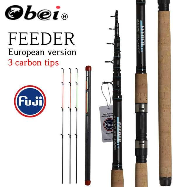 OBEIフィーダー釣り竿伸縮スピニングキャスティングトラベルロッド3.33.6メートルvaradepescaコイフィーダー60-180グラムポール
