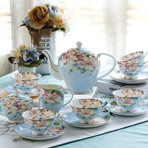 21piece-set 、繊細なボーンチャイナのコーヒーカップセット、ヨーロッパのヴィンテージ茶カップ、ティーケトル、ポット