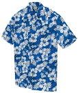 ハイビスカス柄のアロハシャツ(ブルー)かりゆしウェア