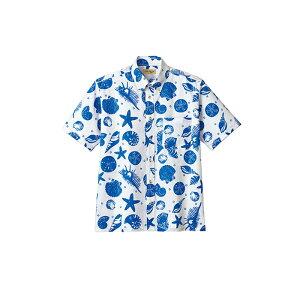 FB4541U アロハシャツ ハワイアンシャツ 貝殻 シェル レトロ ボンマックス BONMAX オレンジ ネイビー| ユニフォーム レディース 大きいサイズ メンズ おしゃれ シャツ 制服 作業服 夏用 夏 作業着