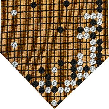 ネクタイ 囲碁将棋 茶系(碁盤色)GS-024『耳赤の譜』『耳赤の一手』シルク GO SHOGIプレゼント ギフト 贈り物