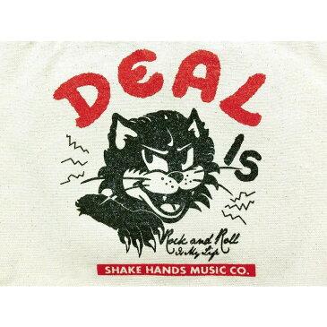 やんちゃ猫 DEAL トートバッグ【ナチュラル&赤】Shake Hands Music