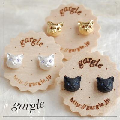 gargle ガーグル mini CATS 猫 ピアス ネコ ねこ 猫 黒猫 白猫 小さい リアル 顔 安い かわいい 人気 ネコ好き 小さい アクセサリー グッズ 動物