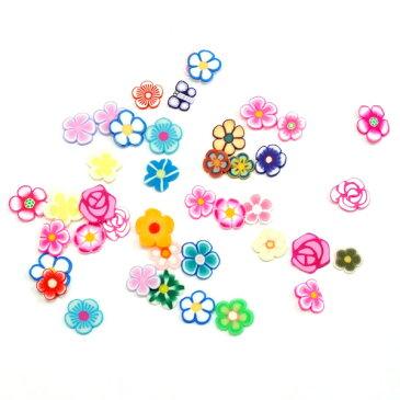 粘土樹脂の小さなフラワー(お花)パーツ★ランダム20個セット★ネイルやレジンアートに!フィモ