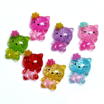 元気よく歩くラメ入りお花付ねこ 貼り付け用パーツ プラスチック製 5個セット☆デコ電にも! ネコ 猫 c5