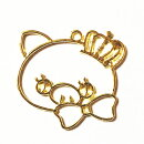(2556)レジンフレーム(ミール皿・セッティング台)王冠&リボン可愛いブタさんピッグメルヘンイラスト風ゆるかわ
